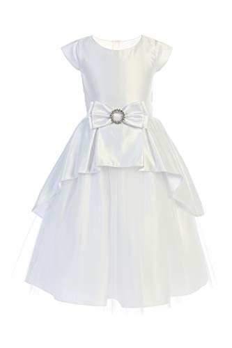 Satin and Tulle with Cascading Peplum Flower Girl First Communion Pageant Wedding Birthday Dress SK783 Size - Tulle Tea Length Wedding Dress