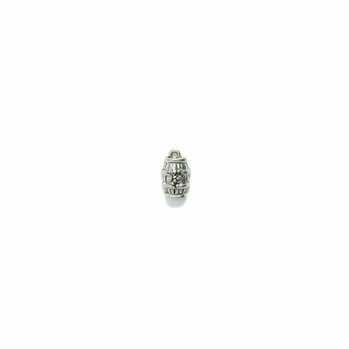 Shipwreck Beads Pewter Wine Barrel with Grapes Charm, Silver, 8 by 14mm, 6-Piece