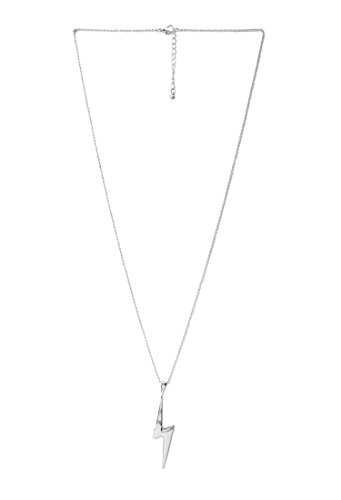 Diane Lo'ren 18kt White Gold Plated Inspirational Card Pendant Necklace Charms (Lightning Strength & Power) -