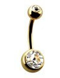 piercing nombril banane plaqué or double strass blanc (cristal)