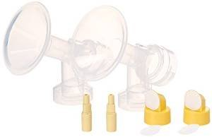 2xOne-Piece Small Flagne w/ Valve, Membrane and Bottle Converter for SpeCtra Breast Pumps S1, S2, M1, Spectra 9;Narrow (standard) Bottle Neck; Made by Maymom by Maymom that we recomend individually.