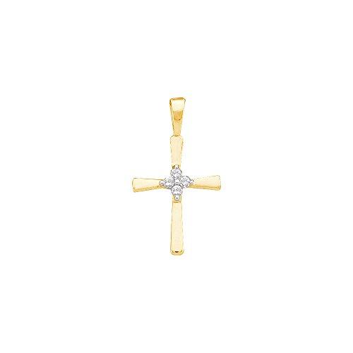 Roy Rose Jewelry 14K Yellow Gold Round Diamond Cluster Womens Childs Christian Cross Dainty Small Pendant 1/20-Carat tw