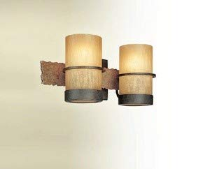Troy Lighting Bamboo 2-Light Vanity - Bamboo Bronze with Natural Slate Finish and Bamboo Glass