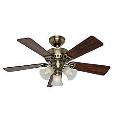 Hunter 53078 The Beacon Hill 42-Inch Ceiling Fan with Five Rosewood/Medium Oak Blades and Light Kit, Antique Brass