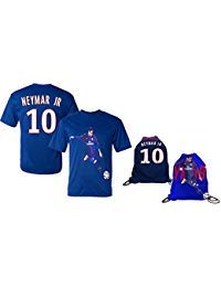 Neymar Jersey Style T-shirt Kids Neymar Jr Jersey PSG T-shirt Gift Set Youth Sizes ✓ Premium Quality ✓ ✓ Soccer Backpack Gift Packaging (YM 8-10 Years Old, Neymar Jr)