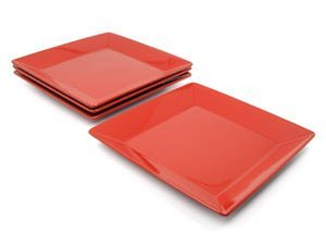 Waechtersbach Fun Factory Cherry Red Square Dinner Plates Set Of 4  sc 1 st  Books and Bowel Movements : waechtersbach red dinnerware - pezcame.com