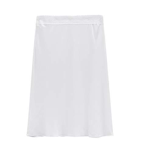 (XZ-Rain Women's 100% Pure Mulberry Silk Slip Charmeuse Nightgown Half Slip (White, XL))