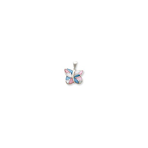 (Jewelry Pendants & Charms Themed Charms Sterling Silver Pink and Blue Shell Butterfly Pendant)