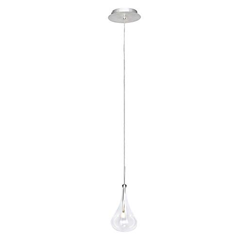 ET2 E23121-18PC Larmes 1-Light LED Single Pendant, Polished Chrome Finish, Clear Glass, G4 LED Bulb, 40W Max., Dry Safety Rated, 2900K Color Temp., Low-Voltage Electronic Dimmer, Glass Shade Material, 590 Rated Lumens