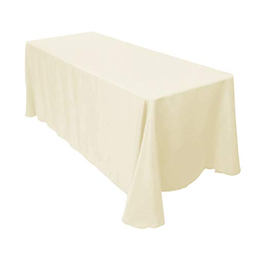Surmente Tablecloth 90 x 132-Inch Rectangular Polyester Table Cloth for Weddings, Banquets, or Restaurants (Ivory) ()