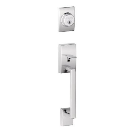 Schlage F62CEN626ORB Satin Chrome Century Century Double Cylinder Handleset with Orbit Interior Knob from the F-Series