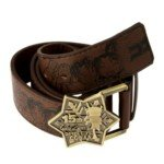 Cool Detective Conan Anime Theme Pattern Leather Belt with Metal Buckle(1m length)