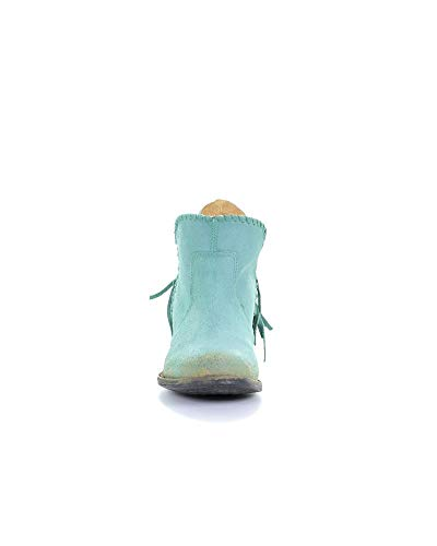 White Boots Corral Distressed Women's Cowboy Leather Top Back Fringe Urban Turquoise Shortie Braided YrxPqwr0T