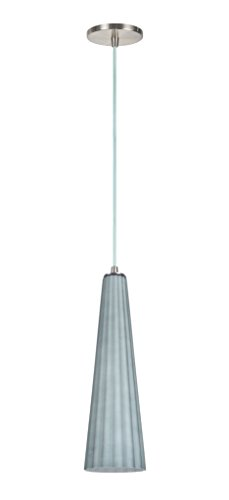 Aspen Creative 61056 Adjustable 1 Light Hanging Mini Pendant Ceiling Light, Transitional Design in Satin Nickel Finish, Metallic Grey Glass Shade, 4 5/8