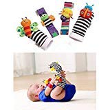(leoyoubei Baby Socks Toys Wrist Rattles and Foot Finders Multicolor 4pack)