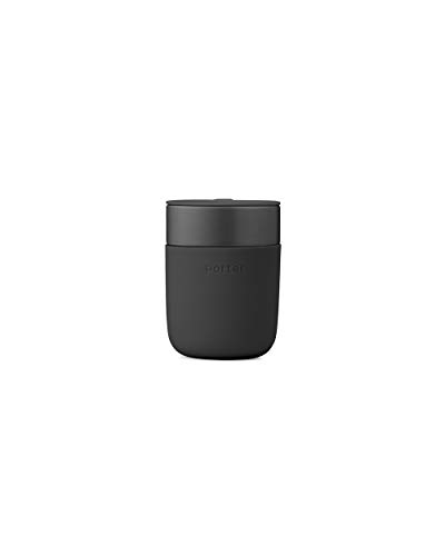 W&P WP-PMC-CH Portable Ceramic Porter Mug, Reusable Cup for Coffee or Tea, Protective Silicone Sleeve, Dishwasher Safe, 12 Ounces, Charcoal (Best Portable Coffee Mug)