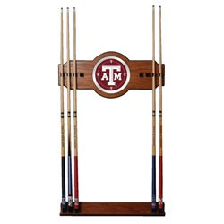(Texas A&M University 2 Piece Wood and Mirror Wall Cue Rack)