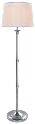 (Lite Source LS-82193 Floor Lamp, Polished Steel with White Fabric Shade, 59.5