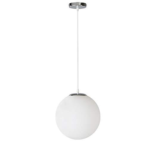 Blanc 25cm Lustre sphérique abat-jour boule de verre restaurant bar lustre allée combinaison créative, blanc, 25cm