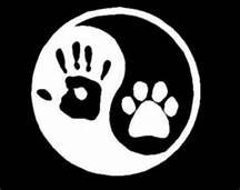 Dog Paw Ying Yang Symbol Dogs Vinyl Decal Sticker|WHITE|Cars Trucks Vans SUV Laptops Wall Art|5