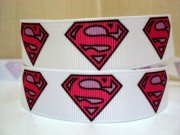5 yards 7/8 Pink Superman Supergirl Grosgrain Ribbon