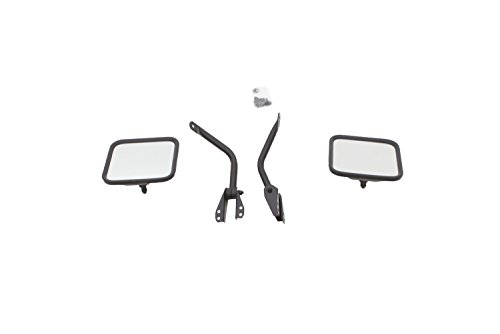 Jeep Mirror 1986 Cj7 (RAMPAGE PRODUCTS 7617 Black Factory Style Replacement Steel Mirror Kit for 1955-1986 Jeep CJ - Pair)