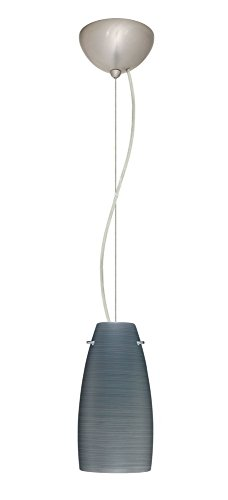 Besa Lighting 1KX-1512TN-SN Tao-10 - One Light Pendant, Choose Finish: SN: Satin Nickel, Choose Mounting Option: 1KX: Dome Canopy Cable Fixture, Choose Lamping Option: 75W Incandescent-A19 Medium-120v ()