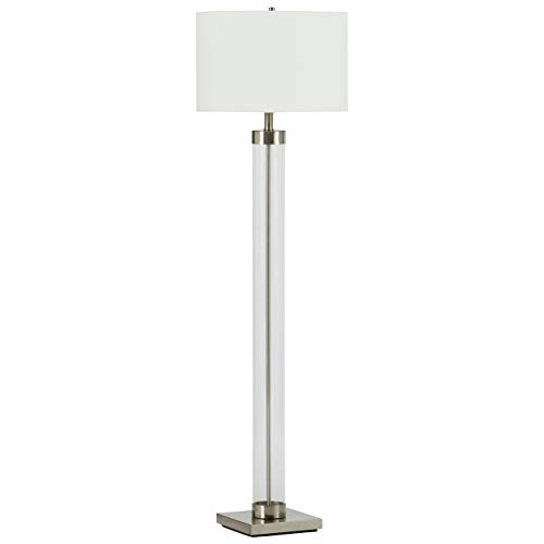 Stone & Beam Glass Column Living Room Standing Floor Lamp With Light Bulb and Linen Shade - 59 Inch, Brushed Nickel