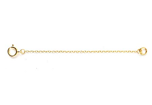 - 1pc 14k Gold on Sterling Silver Chain Extender Strong and Long Lasting - 6 inch Chain Extension for Necklace Anklet Bracelet SS288-6