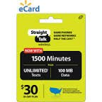 Straight Talk $30 (30-day Plan) 1500 Minutes, Unlimited Texts, 100mb Data