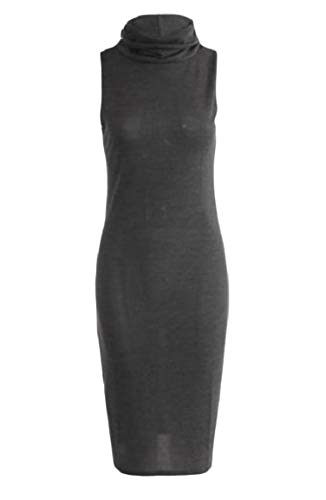 Dark Sleeveless Bodycon Knitted Womens Dress Solid Grey Turtleneck neveraway Thin 875wqZ1