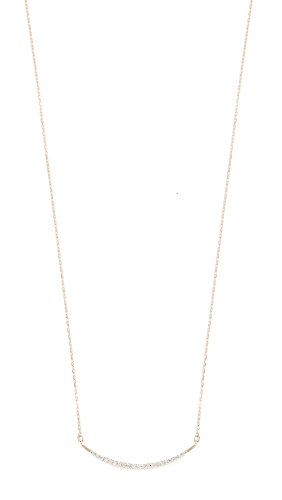 Adina Reyter : Jewelry Necklaces - Adina Reyter Women's 14k Gold Large Pave Curve Necklace, Gold/Clear, One Size