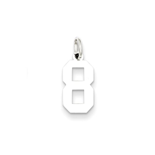 (Rhodium Plated Sterling Silver, Athletic Collection, Large Polished Number 8 Pendant)
