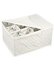 Stemware Storage Chest for Up to 12 Glasses, White (2-Pack)