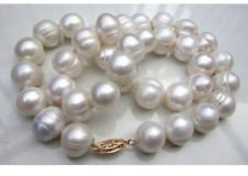 (20 inches Real Pearl 10-11mm South Sea White Baroque Pearl Necklaces)