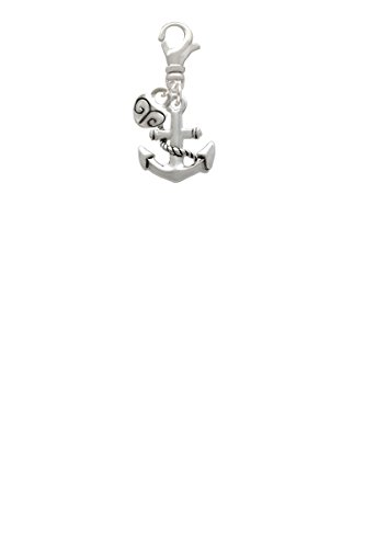 Antiqued Anchor Mini Heart Clip On Charm