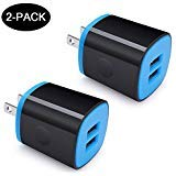 USB Wall Charger Adapter, Multi-Port Fast Charge 2.1Amp Output Charger, Amtobo 2-Pack Power Station Compatible for iPhone Xs/XS Max/XR/X/8/7/6/Plus, iPad Pro/Air /Mini, Samsung Galaxy/Note, and More