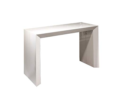 Beveled Edition! Extendable Space Saving Modern Dining Table, Transforms from a Console Table or Desk to a Large Dining Table That Seats Up to Ten White Gloss - Beveled Edition (Kitchen Extendable Tables)