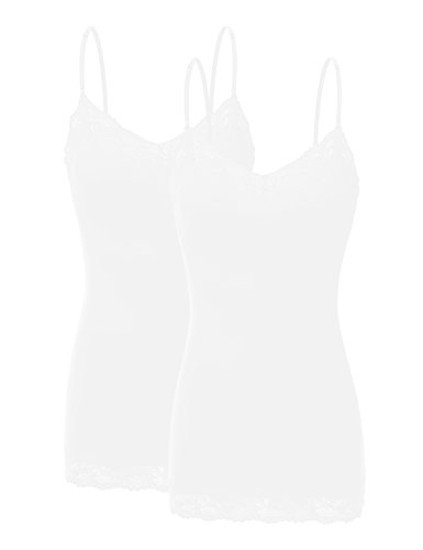 Bozzolo RT1004 Pack Ladies Adjustable Spaghetti Strap Lace Tunic Camisole 2Pack-Wht - Camisole Jersey Cotton