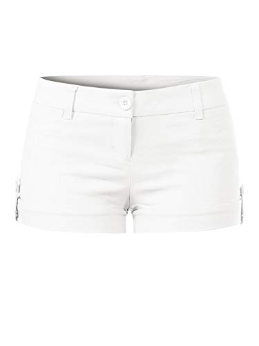 Design by Olivia Women's Juniors Body Enhancing Ripped Hole Mini Shorts White S ()