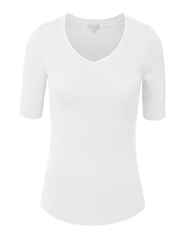 Elbow Sleeve Lightweight Cotton (NE PEOPLE Womens Light Weight Comfy Elbow Sleeve V Neck Top Shirts 9 Color)