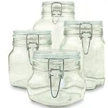 Set of 4 (Four) Bormioli Rocco Fido Glass Canning Jars - 4 Piece - .5, .75, 1 and 1.5 Liters