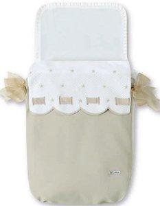Bimbi Class Schlafsack–Tasche, 35x 77cm, weiß und Leinen
