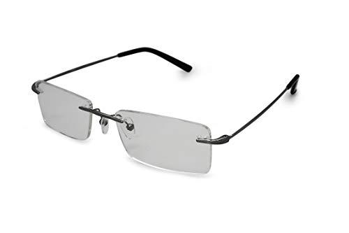 Discount Rimless Eyeglasses - SmartBuy Collection Elias Men's Prescription Eyeglass Frames - Rimless Rectangular Designer Glasses Frame - Elias Grey