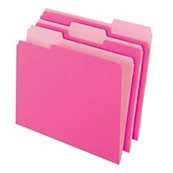 Office Depot Two-Tone Color File Folders, 1/3 Tab Cut, Letter Size, Pink, Box of 100, OD152 1/3 PIN ()
