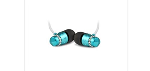 - ICE Collection Turquoise Blue Earphones for Women - Electroplated Turquoise Housing Encircled with Quality Cut Crystals, Full-Range Sound, Rich Bass, Smaller Fit for Women's Ears