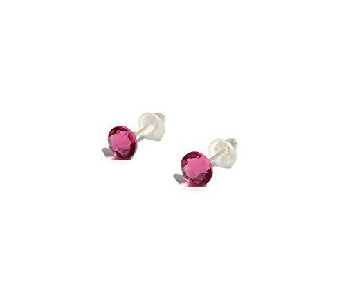 Petite stud earrings with SWAROVSKI Rose Pink Stud earrings 4.6mm – handmade for girls and woman – silver plated posts – October Birthstone – one pair