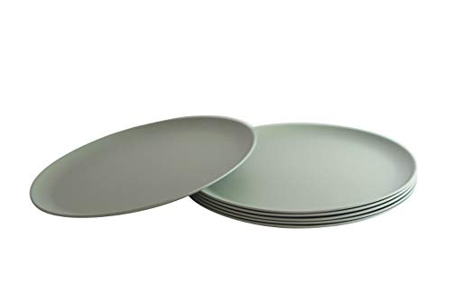 Bamboo Plastic Plates - Natura Green- Bamboo Plates- Set of 6-10 inches (Green)