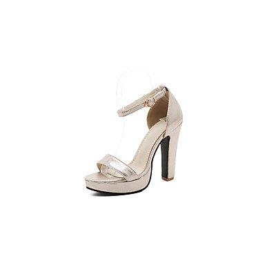 LvYuan Mujer-Tacón Robusto-Otro Zapatos del club-Sandalias-Informal-Semicuero-Negro Azul Plata Oro Blue