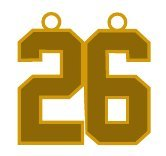 Number 26 Jersey Style Sports Necklace Charm Pendant #26 (0.8'' Tall - Standard Size) GOLD PLATED Perfect For: Football, Baseball, Basketball, Soccer, Hockey, Softball, Volleyball, Lacrosse & More